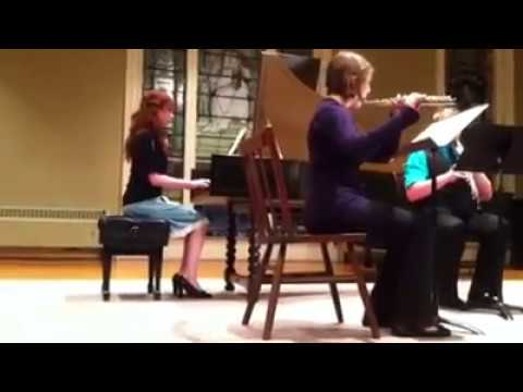 Baroque performance with flute, harpsichord (Alexa L. Borden), and recorder.