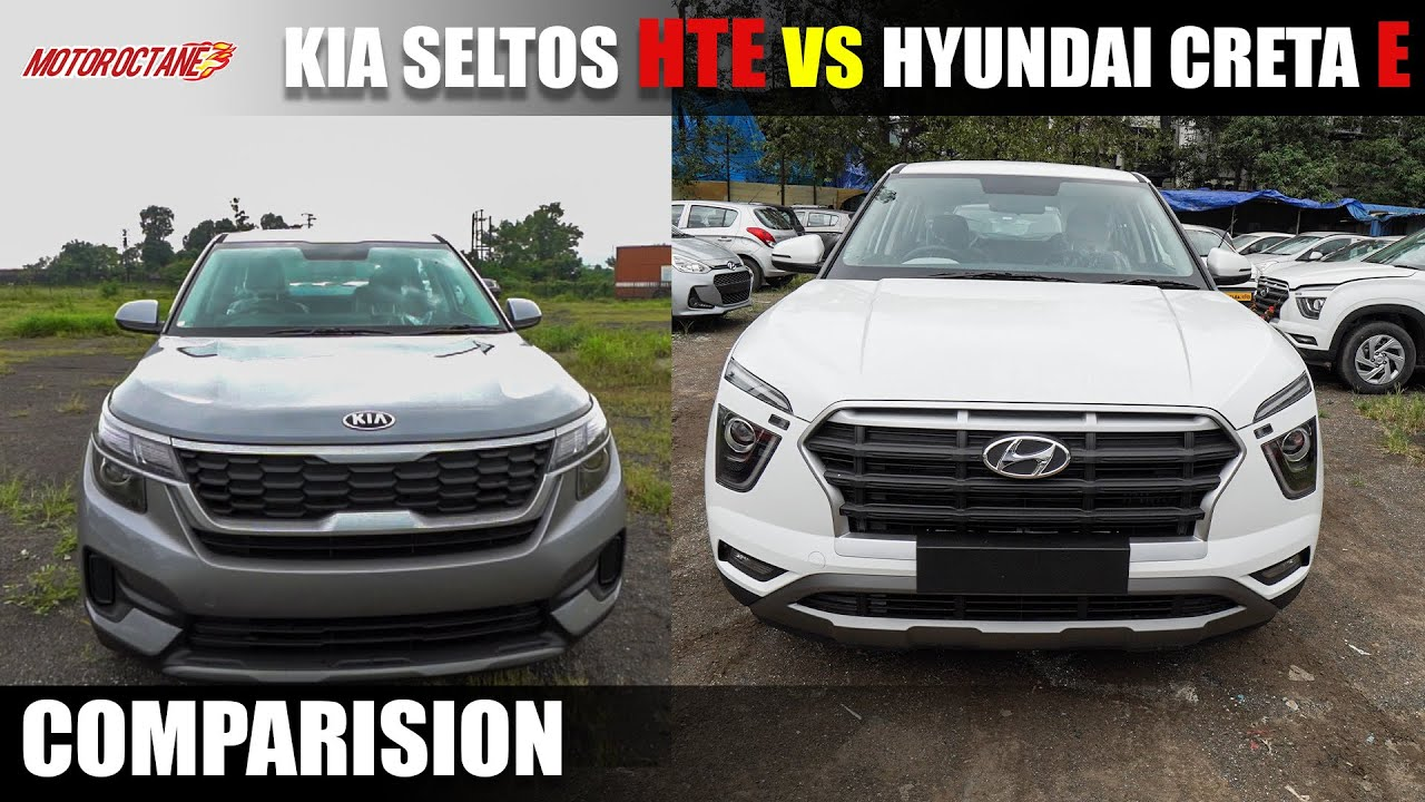 Motoroctane Youtube Video - Hyundai Creta E vs Kia Seltos HTE comparison | Hindi | MotorOctane