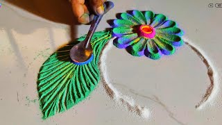 Shri Krishna Janmashtami Special Rangoli Design 2020 - Download this Video in MP3, M4A, WEBM, MP4, 3GP