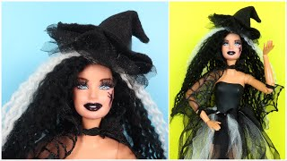 HAPPY HALLOWEEN! DIY Barbie Hairstyle & Makeup, How To Make Doll Clothes And Witch Hat Easy Hacks