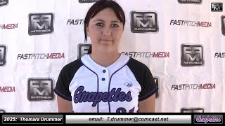 2025 Thomara Drummer Pitcher, Third and First Base Softball Skills Video - Ca Grapettes McNair