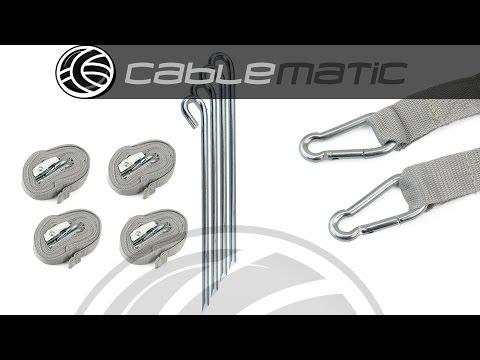 Kit de 4 piquetas, mosquetones y tensores carpas plegables distribuido por CABLEMATIC ®