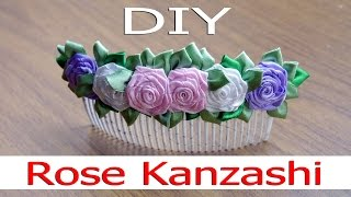 Канзаши МК. Гребенка для волос с розами канзаши / Kanzashi MK. Comb for hair with rose kanzashi