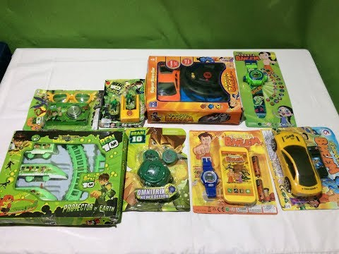 Collection of Chhota Bheem & BEN 10 2019 Toys stunt car,projector wrist watch ,remote car ,super CAR