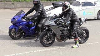 Kawasaki Motorcycles Drag Racing   H2 Ninja Vs Ninja ZX 14