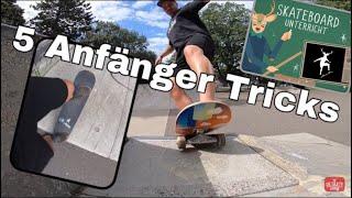 Skateboard fahren lernen - 5 Anfänger Tricks im Skatepark   Ohne Ollie zu können