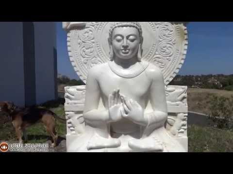 SOLD White Marble Sarnath Buddha Statue 60