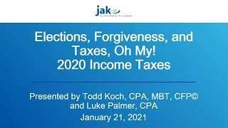 Elections, Forgiveness & Taxes: 2020 Income Taxes - Cook County Higher Education