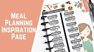 Meal Planning Inspiration Page