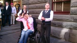 The Doug Anthony Allstars busking at Melbourne Town Hall - Krishna