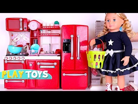 Playing baby doll Kitchen Toys - Doll house & cooking toys w/ American Girl doll & OG Dolls