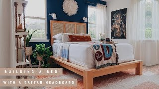Building A Bed With DIY Rattan Headboard For My First Time!!!