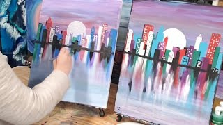 Easy Cityscape Acrylic Painting For Beginners. Learn To Paint With Paint Night Online! #stayhome