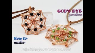 Square Pendant Inspired Gods Eye Craft - Handmade Jewelry From Copper Wire And Abacus Crystal 497