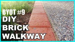DIY BRICK WALKWAY : HOW TO INSTALL ACCENT PAVERS