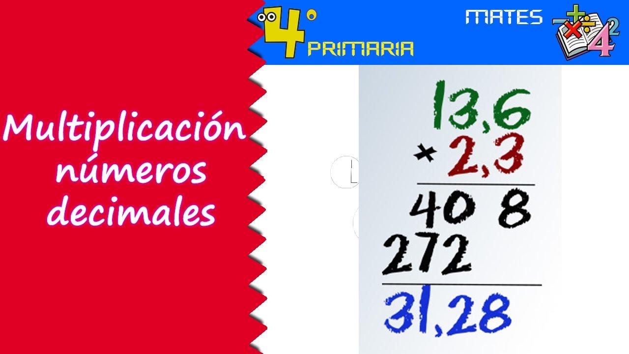 Matemáticas. 4º Primaria. Tema 7. Multiplicación de números decimales