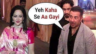 Sunny Deol  Ignores Stepmother Hema Malini At Isha Ambani Wedding Reception