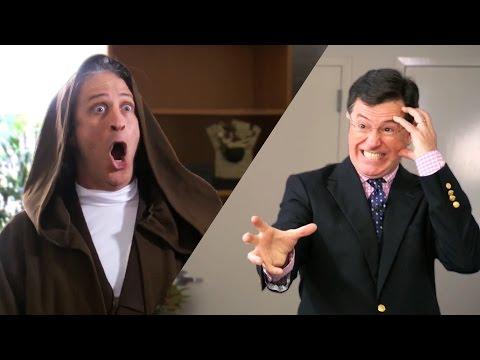 Stephen Colbert And Jon Stewart Jedi Battle For Charity