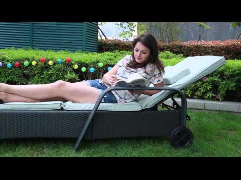 Miadomodo Rattan Sonnenliege Gartenliege mit Auflage RTSL01 oder RTSL02