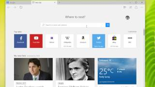 Windows 10 - Setting New Tab Options and Search Providers in Edge