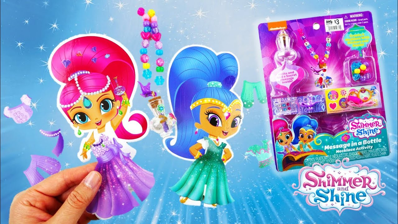 Shimmer and Shine Message in a Bottle Necklace Activity and Paper Doll Stylist Set