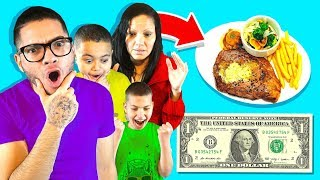 Family Only Spend $1 Food for 24 Hours Challenge!
