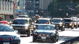 SPハコ乗り!! ペンス米副大統領&ドイツ大統領車列連続通過!! Motorcade of U.S VP Mike Pence & President of Germany