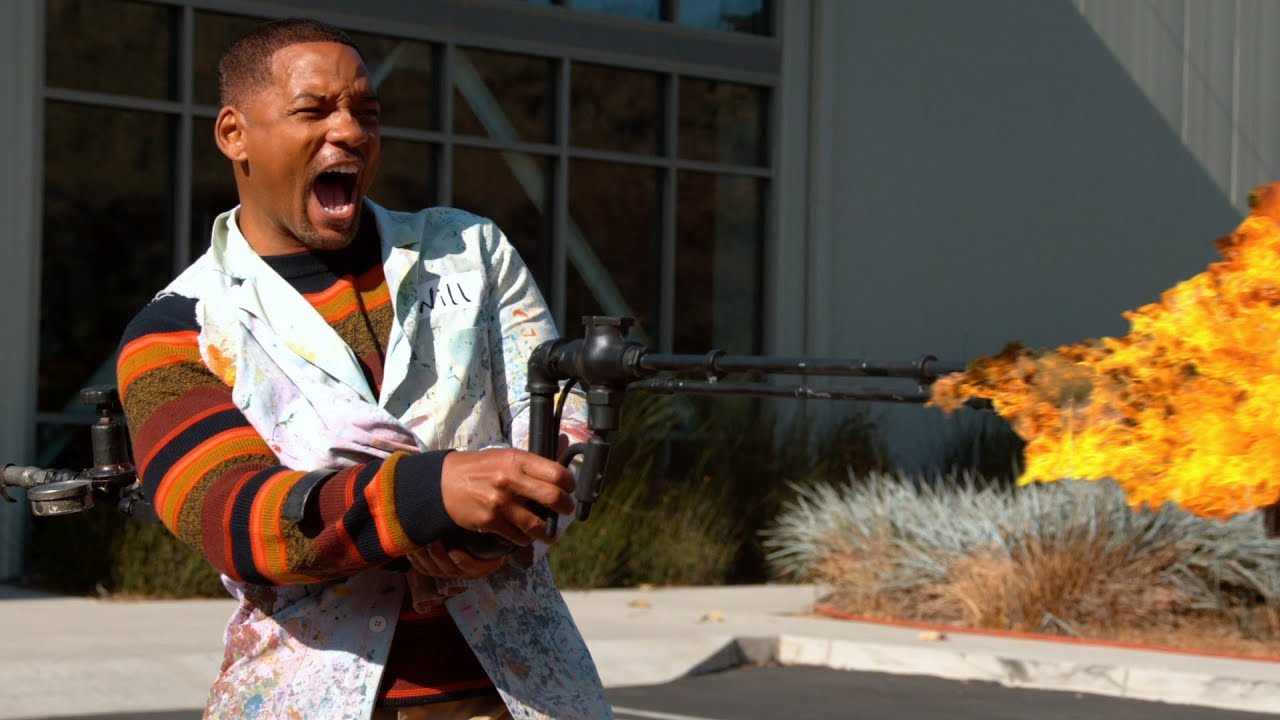 We gave Will Smith a Flame Thrower - The Slow Mo Guys Screenshot Download