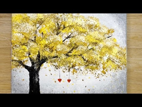 Aluminum painting techniques / How to draw hearts hanging on a tree / Easy drawing