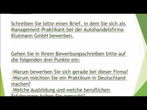 , title : 'Bewerbung als Praktikant schreiben | schriftliche Prüfung B2 Telc
