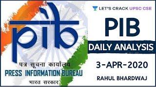 3-Apr-2020 | PIB Daily Analysis | UPSC CSE/IAS 2020/2021 | Rahul Bhardwaj
