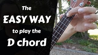 Easy way to play the D chord  - Ukulele Beginners lesson tutorial