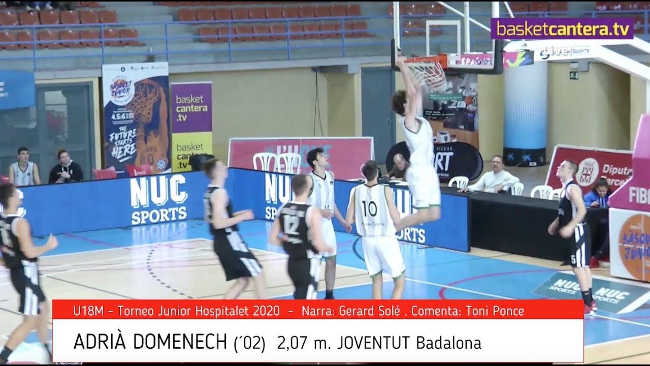 ADRIÀ DOMENECH (´02) 2,07 m. Joventut.- Torneo Junior Hospitalet 2020 (BasketCantera.TV)