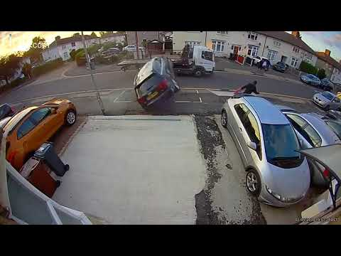 Crazy: Dude almost gets rolled over by flying car