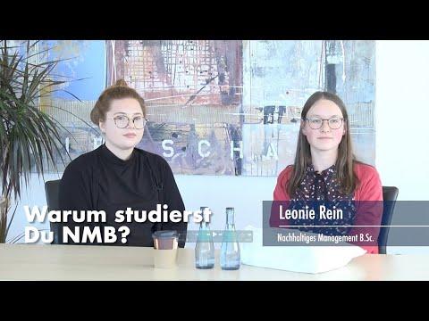 Thumbnail YouTube Video mit Foto der Studentin und der Frage: Warum studierst Du NMB?