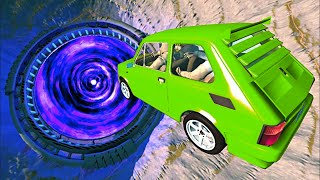 BeamNG.drive - Car Jumps & Falls Into Giant Portal