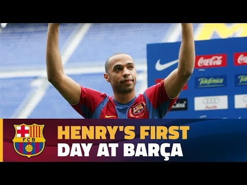 This was Henry's first day at Camp Nou 2007