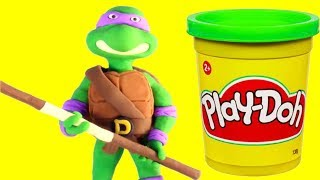 Ninja Turtles funny Play Doh Stop motion video for kids