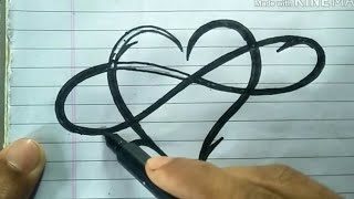 Love| Heart| How To Write Infinite Love Heart /infinity Symbol With Heart/ Tatto Degien Love Heart,,