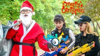 Xgirl Nerf War: Police Patrol X Girl Fight With Crime Took Back Gift Bag For Santa On Christmas Day