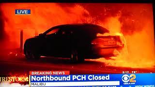 MALIBU FIRE Nov 9 2018 FIRE burns car, power pole JUMPS P.C.H Pacific Coast Hwy.