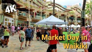 [4K] Crowded Lewers St | Monday Market Day in Waikiki | Late Afternoon Waikiki Walk | Oahu, Hawaii