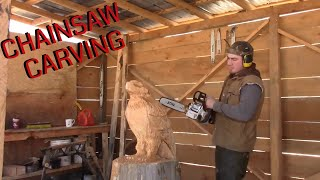 Chainsaw carving at its finest (eagle on stump)