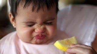 Дети пробуют лимоны в первый раз. сборник HD
