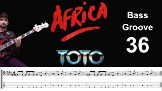 AFRICA (TOTO) How To Play Bass Groove Cover With Score & Tab Lesson