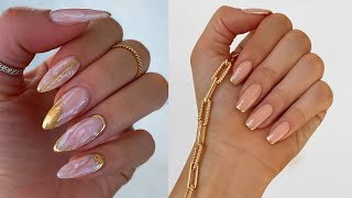 TRENDING GOLD NAIL ART TECHNIQUE REVEALED | MARBLE EFFECT | REAL NAILS