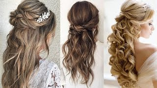 Half Up Bun Hairstyle | Wedding Updo Hairstyle For Long Hair | Bridal Romantic Glamour Braids