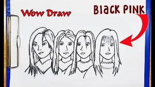 BLACKPINK - How You Like That - How to draw BLACKPINK - How to turn words BLACKPINK into CARTOON