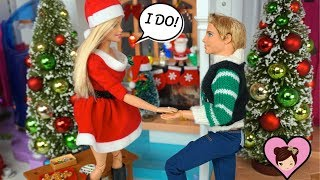 Ken Proposes to Barbie in The Dollhouse Christmas Party - Barbie Wedding Dress