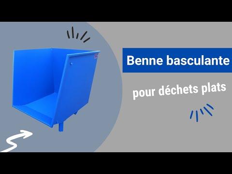 Video Youtube Benne basculante à déchets plats - Capacité 850 à 2400 litres - Charge inférieure à 1200 kg